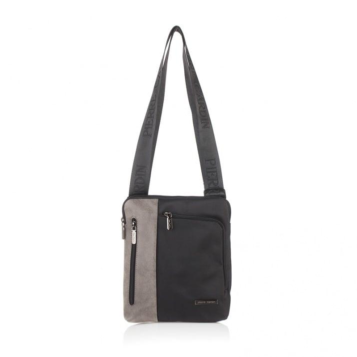 Мъжка чанта еко кожа и плат, черно и сиво PIERRE CARDIN