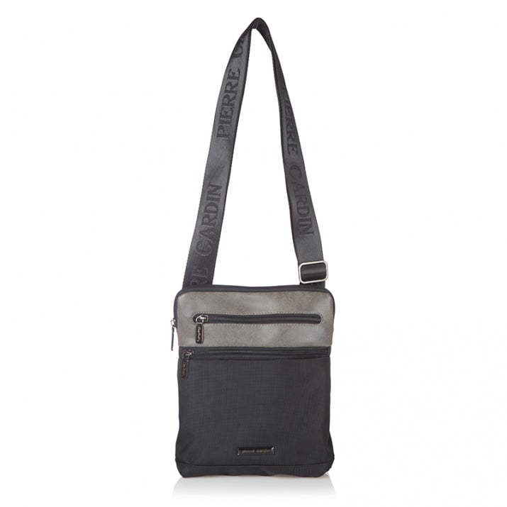 Мъжка чанта еко кожа и плат - черно и сиво PIERRE CARDIN
