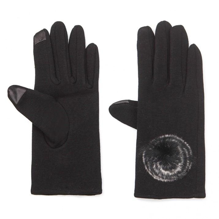 Черни ръкавици с пухче - PIERRE CARDIN