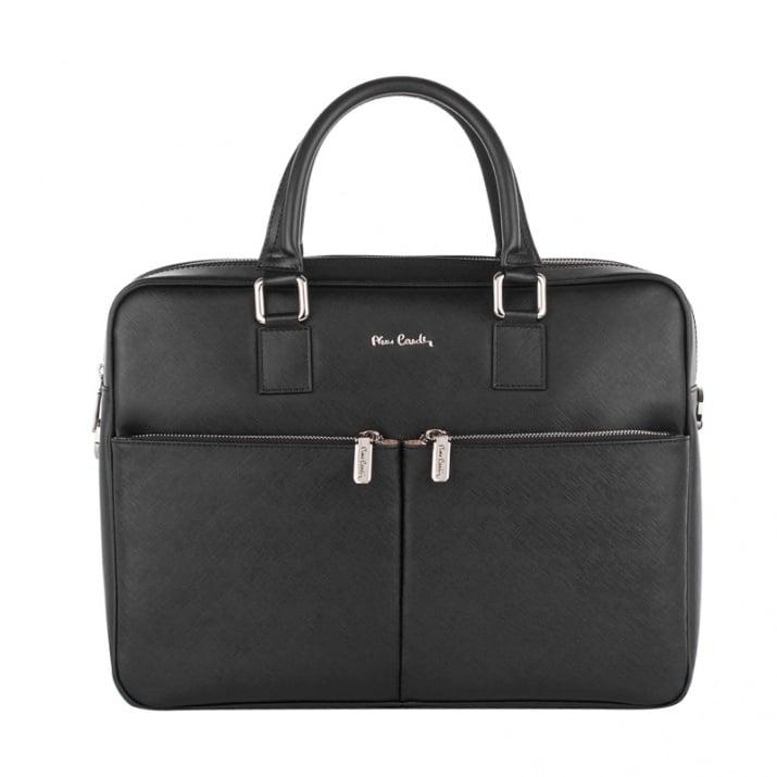 Елегантна чанта от естествена кожа за лаптоп - PIERRE CARDIN