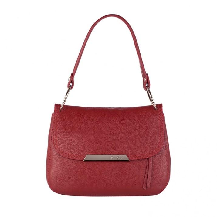 Стилна малка чанта цвят бордо Pierre Cardin