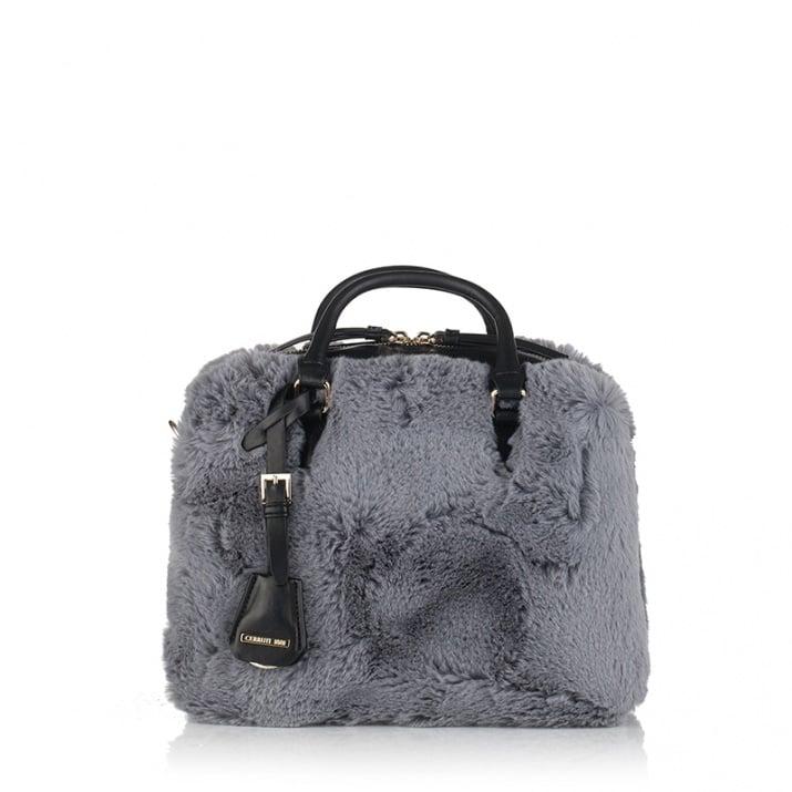 Малка дамска чанта - сив пух CERRUTI 1881