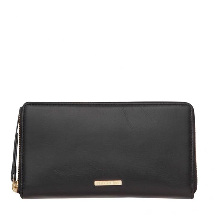 Дамско черно портмоне CERRUTI 1881 - с цип, гладка кожа