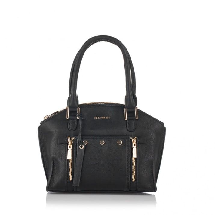 Дамска чанта с украсителни ципове в черно - ROSSI