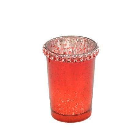 Свещник червен 8.5 см.