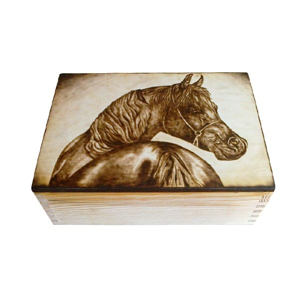 Комплект пирографиране на дърво с пирограф в дървена кутия