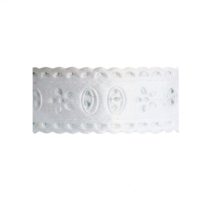 Лента с мотив, 25 mm, 10m, бяла дантела флорални мотиви