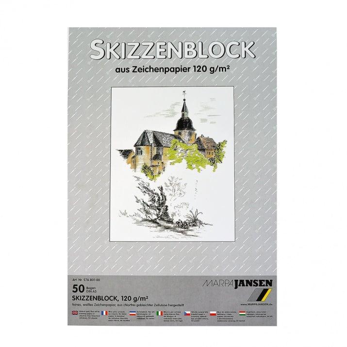 Хартия за скици, 190 g/m2 Хартия за скици, 120 g/m2, А3, 50л в блок, бяла