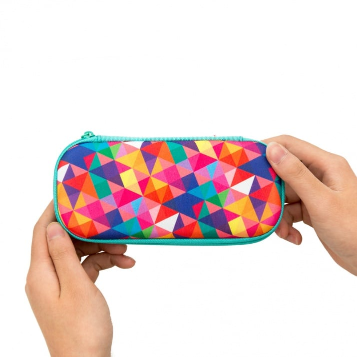 Моливник Colorz, 20x4.5x9cm, цветни триъгълници