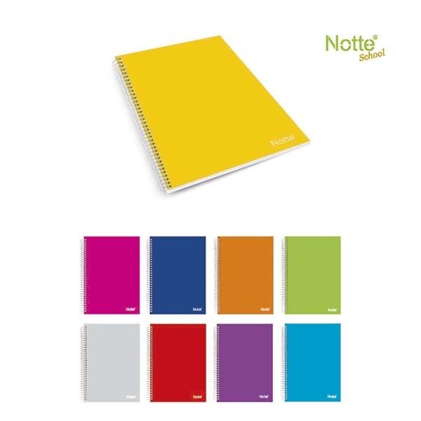 Тетрадка Notte Pastel, A4, спирала, бели листа, 80 л., ред, 60 g/m2