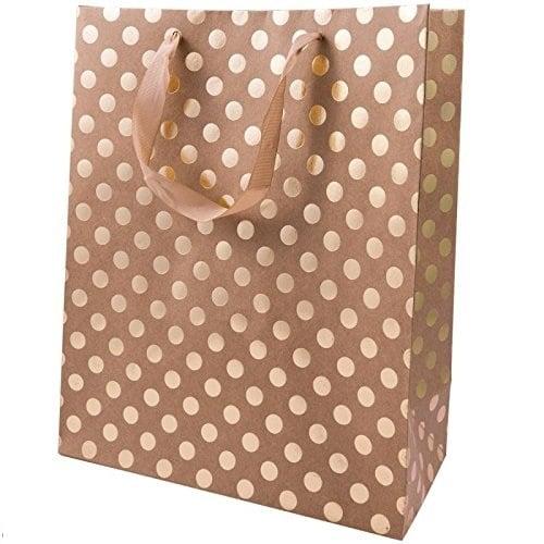 Подаръчна чанта, кафява на златни точки, 26 x 32 x 12 cm