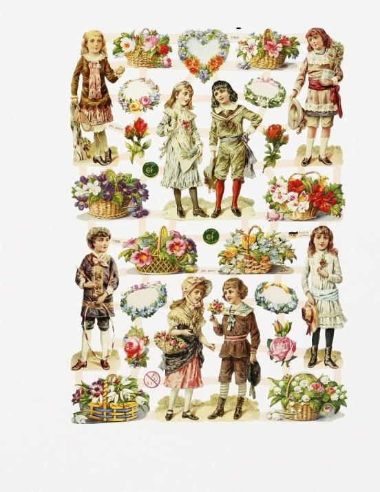 Дизайнерска хартия, Children and flowers, 165 x 235 mm