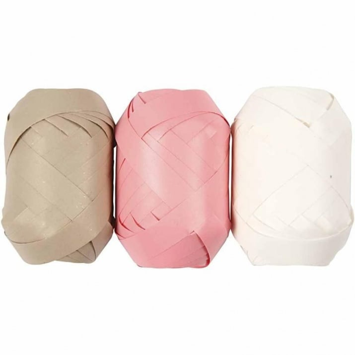 Хартиена лента, 10 mm, 10m, 3бр., кафяв/розов/бял