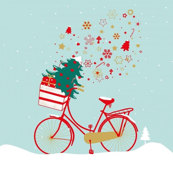 Салфетка PPD - подходящи и за декупаж - Коледа - с велосипед - , 33 x 33 cm, пак.20 бр.