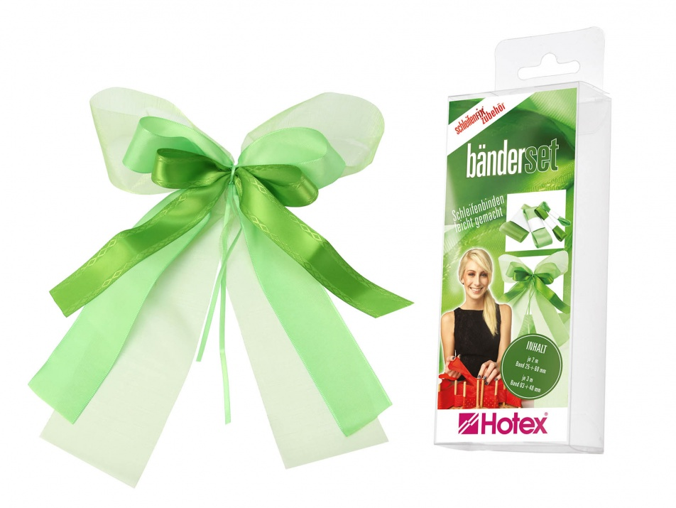 Комплект текстилни ленти, Schleifenfix, зелени