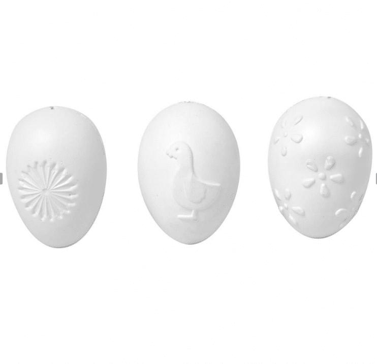 Яйце от пластмаса ембосирано, H 60 mm, бяла
