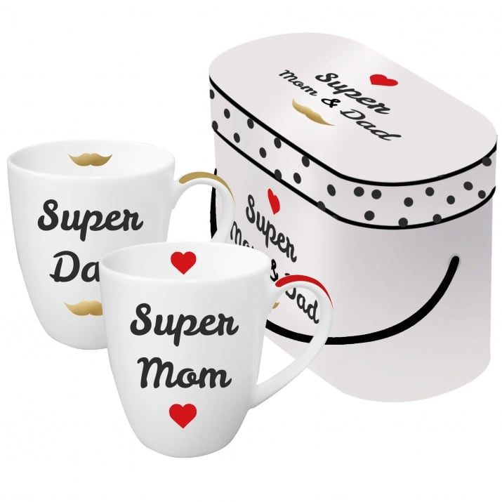 Комплект порцеланови чаши Super Mom & Dad, 2 бр.