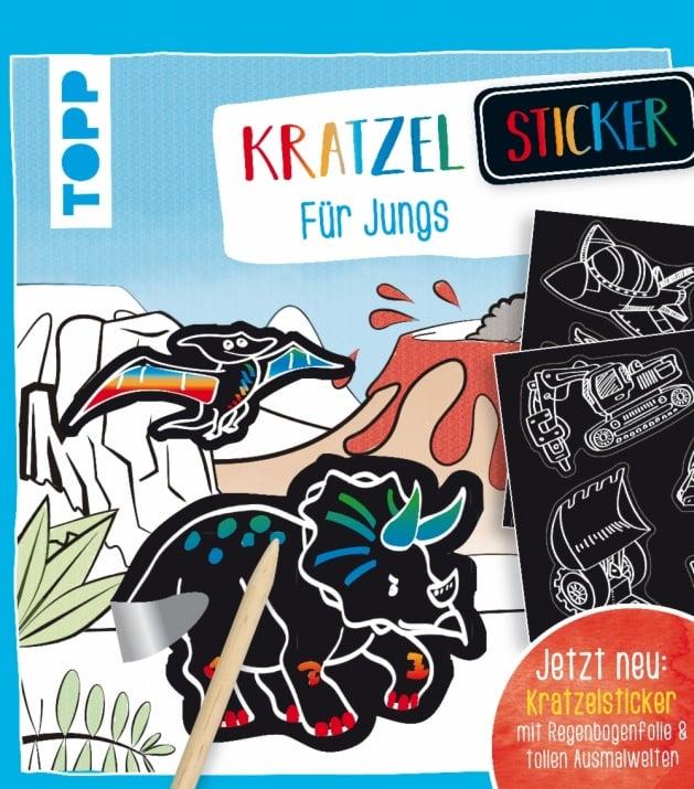 Книжка за оцветяване немски език TOPP, Kratzel-Sticker für Jungs, m. Holz-Kratzstift, 48 стр.