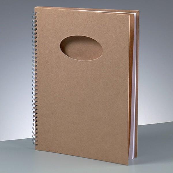 Бележник за скрапбукинг, A 4 / 30 × 21,5 cm, 60 стр., 70 g/m², кафяв Бележник за скрапбукинг, овал, A 4 / 30 × 21,5 cm, 60 стр., 70 g/m², кафяв