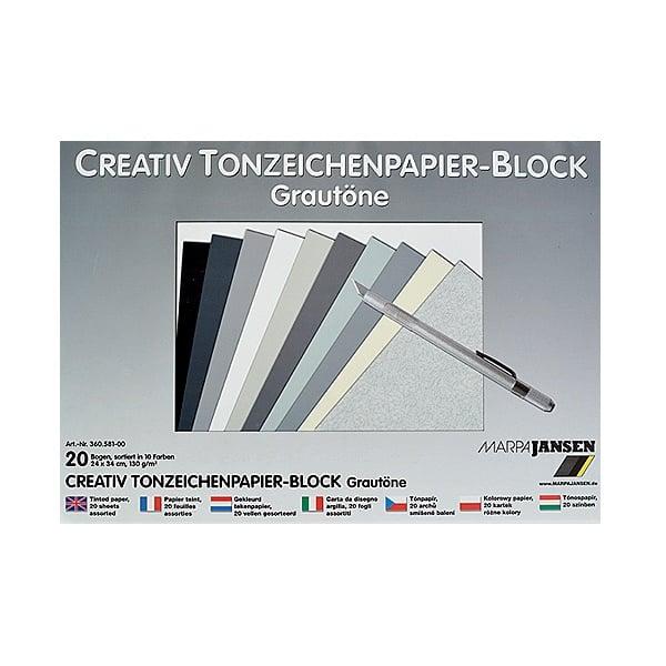 Блок 20л.цветен картон, 130 g/m2, 24х34 cm, сиво-черни цветове