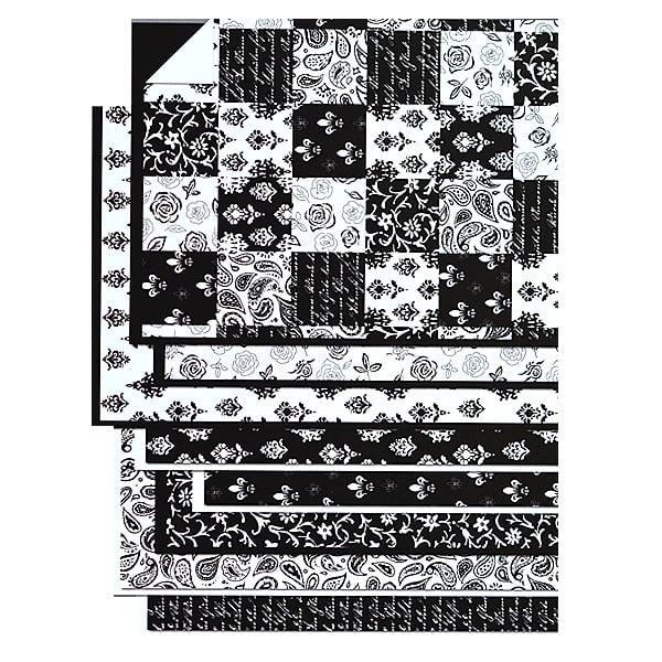 Блок 8л.цветна хартия/16л.варио картон, А4, черно-бели