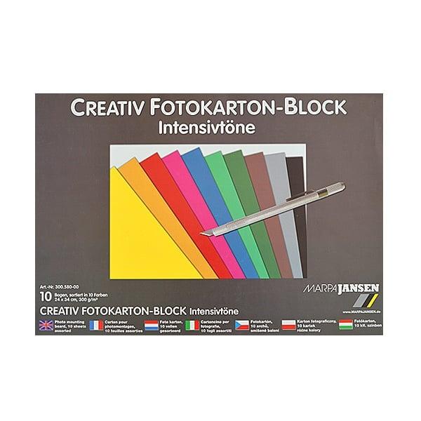 Блок фото картон, 300 g/m2, 24 x 34 cm, 1 блок, интензивни цветове