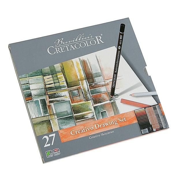 Комплект художествен CretaColor, CREATIVO, метална кутия