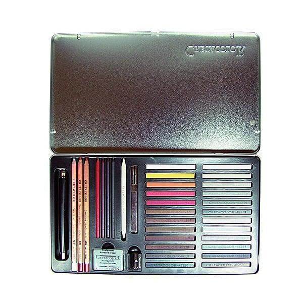 Комплект художествен CretaColor, TERRA CLASSICA, метална кутия