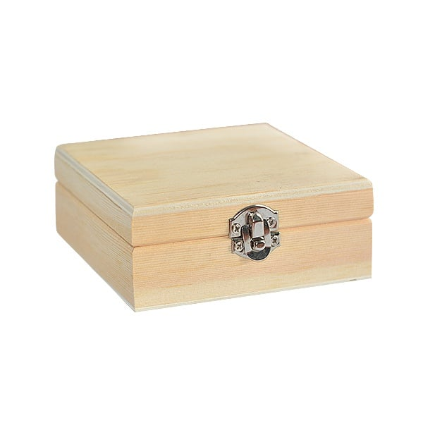 Дървена кутия, 10 х 10 х 4 см, натурална