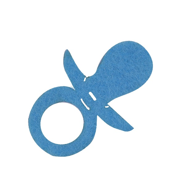 Деко фигурка биберон, филц, 30 mm, светло син