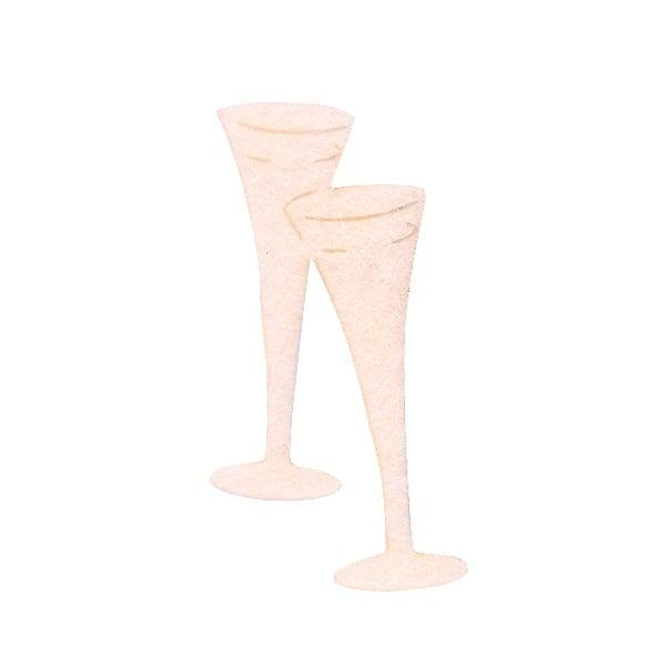 Деко фигурка чаши шампанско, Filz, 40 mm, кремави