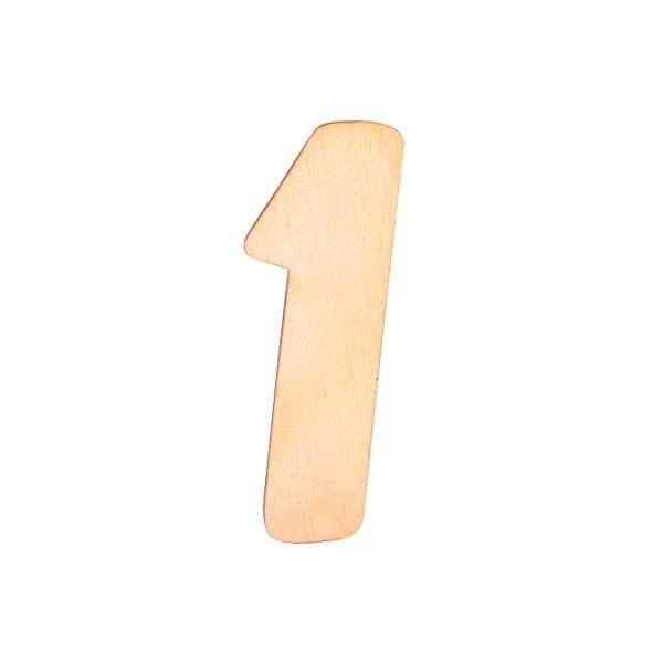 """Деко фигурка цифра """"1"""", дърво, 28 mm"""