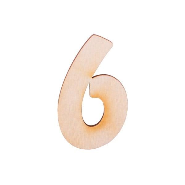"""Деко фигурка цифра """"6"""", дърво, 50 mm"""