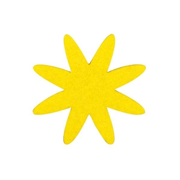 Деко фигурка цвете 8 листно, филц, 80 mm, светло жълто