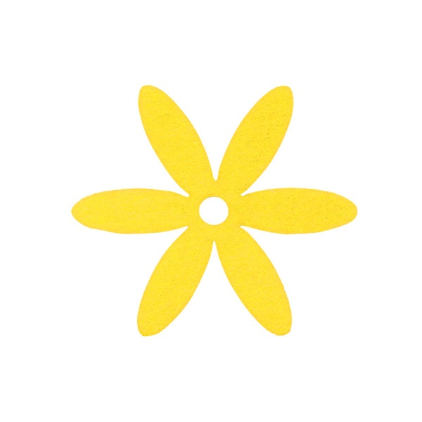 Деко фигурка цвете, филц Деко фигурка цвете, филц, 25 mm, светло жълто