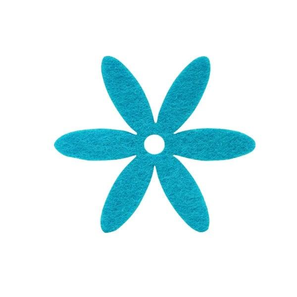 Деко фигурка цвете, филц Деко фигурка цвете, филц, 25 mm, турско синьо