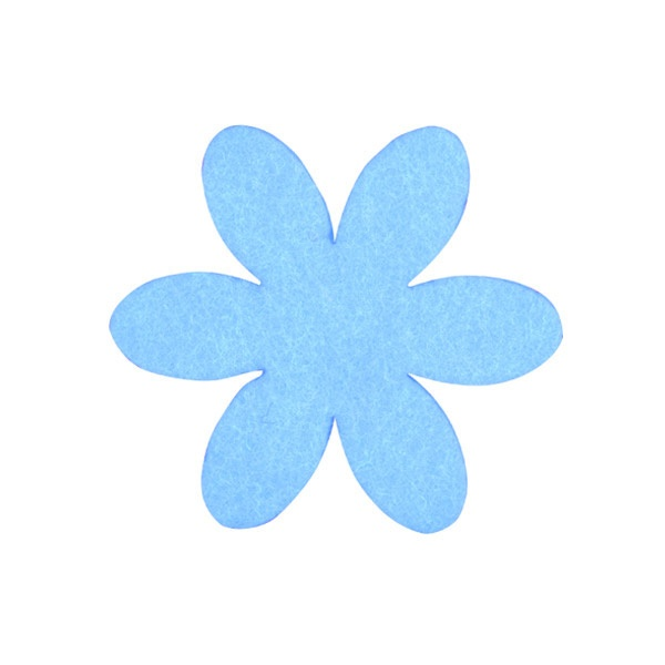 Деко фигурка цвете, филц Деко фигурка цвете, филц, 35 mm, небесно синьо