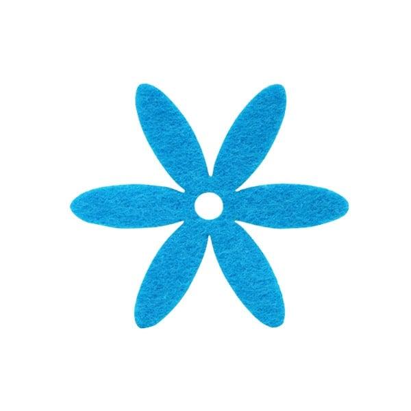 Деко фигурка цвете, филц Деко фигурка цвете, филц, 65 mm, небесно синьо