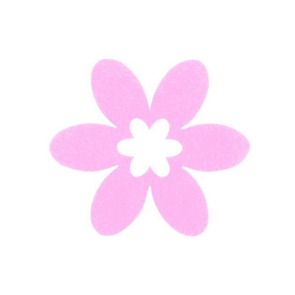 Деко фигурка цвете, филц, 65 mm, розово