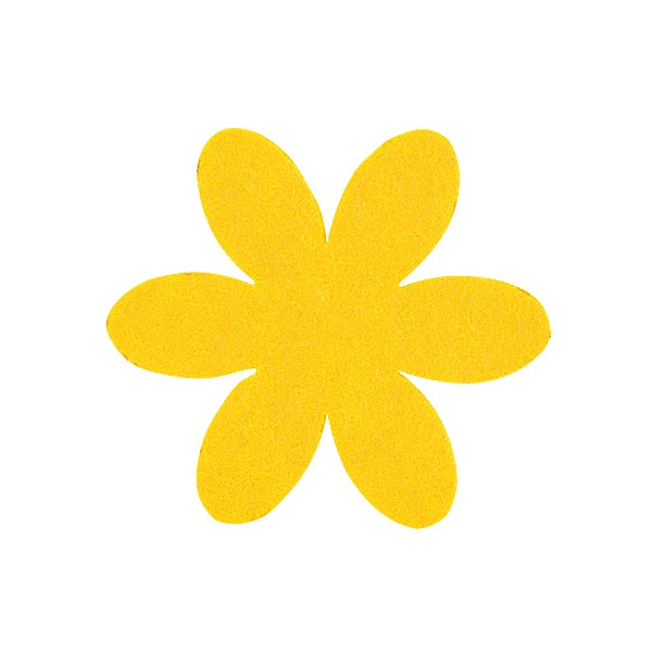 Деко фигурка цвете, филц, 65 mm Деко фигурка цвете, филц, 65 mm, светло жълто