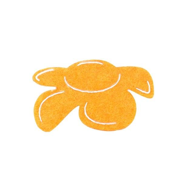 Деко фигурка цвете отстрани, филц, 60 mm, светло жълто