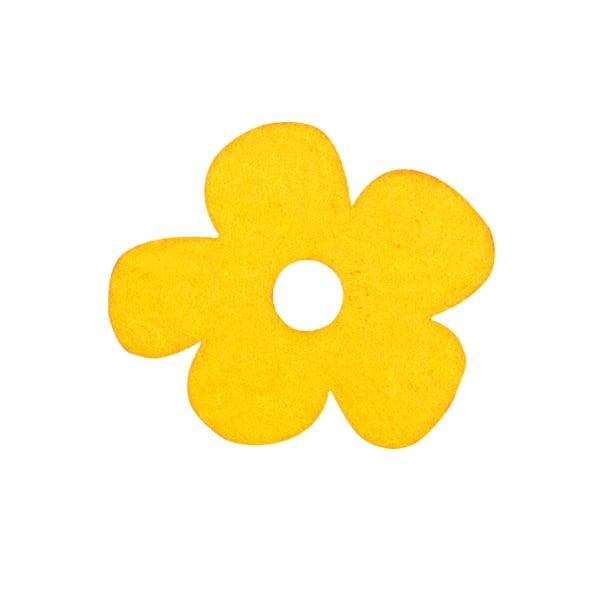 Деко фигурка цвете с извивки, филц Деко фигурка цвете с извивки, филц, 20 mm, светло жълто