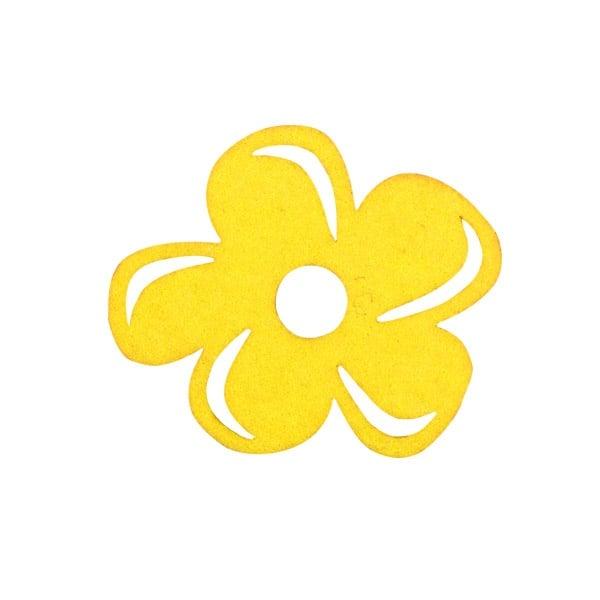 Деко фигурка цвете с извивки, филц Деко фигурка цвете с извивки, филц, 30 mm, жълто