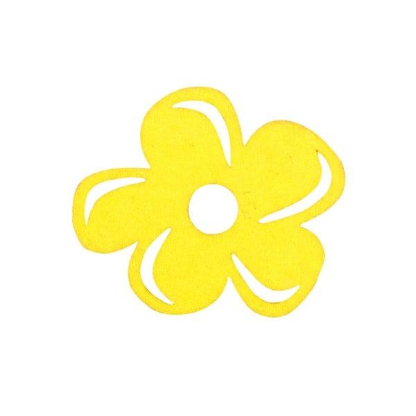 Деко фигурка цвете с извивки, филц Деко фигурка цвете с извивки, филц, 30 mm, светло жълто