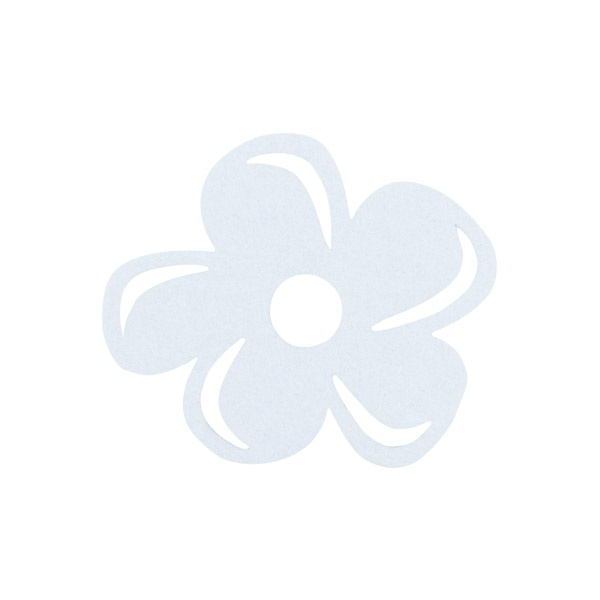 Деко фигурка цвете с извивки, филц Деко фигурка цвете с извивки, филц, 50 mm, бяло