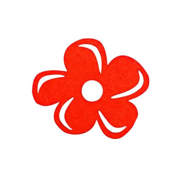 Деко фигурка цвете с извивки, филц Деко фигурка цвете с извивки, филц, 60 mm, червено