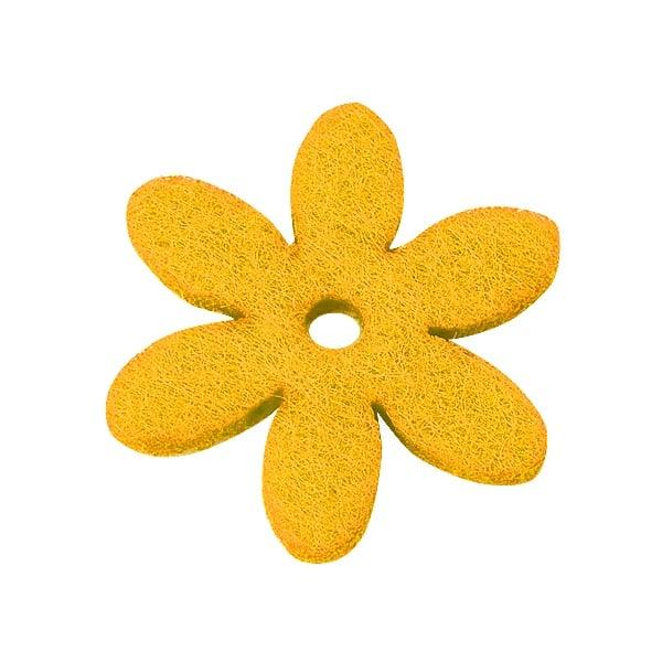 Деко фигурка цвете с отвор, филц Деко фигурка цвете с отвор, филц, 25 mm, жълто