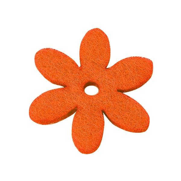 Деко фигурка цвете с отвор, филц Деко фигурка цвете с отвор, филц, 25 mm, оранжево