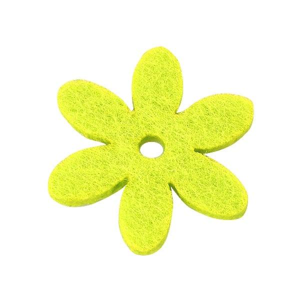 Деко фигурка цвете с отвор, филц Деко фигурка цвете с отвор, филц, 25 mm, светло жълто