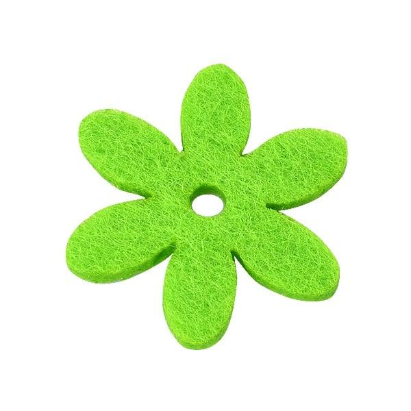 Деко фигурка цвете с отвор, филц Деко фигурка цвете с отвор, филц, 25 mm, тревно зелено